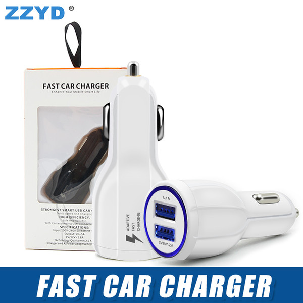 best selling ZZYD Universal QC 3.0 Fast Car charger 2 port Car charger 2A Quick Dual USB Adaptive For Samsung S8 galaxy S7