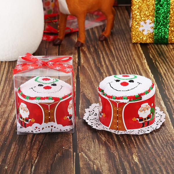 Presentes de natal Bonito Bolo Toalha De Algodão Macio Toalha De Pano De Papai Noel Projeto Da árvore de Boneco de neve Loop Toalhas de Festa Favor decorações com caixa