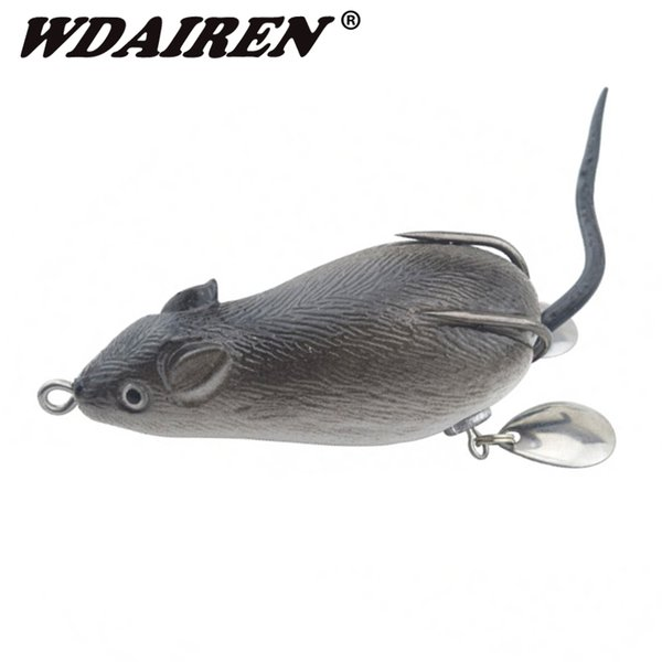 1Pcs mouse Lure 7cm 17.5g Fishing Lures Treble Hooks Top water Ray Frog Artificial Crank Strong Artificial Soft Bait WD-454 Y18100906