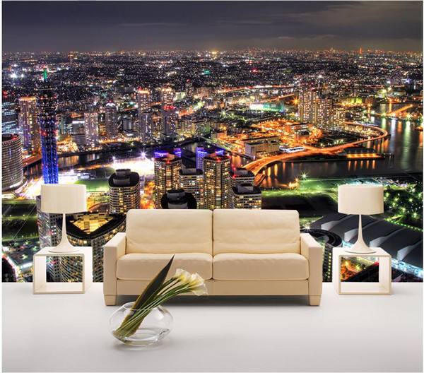 3d wallpaper on the wall custom photo mural City aerial view night view background wall Home improvement living Room wallpaper for walls 3 d
