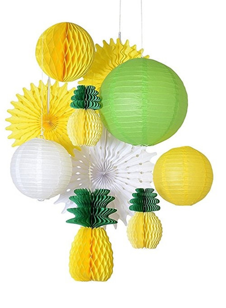 hot sale 10pcs/set Summer party honeycomb pineapple ball tropical Hawaiian party festival paper lantern paper fan decoration wholesale