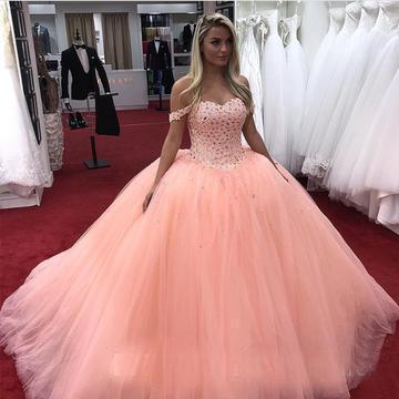 2018 Coral vestido de baile quinceanera vestido de baile barato longo fora do ombro designer sparkly frisado tule sweet 16 vestidos de festa