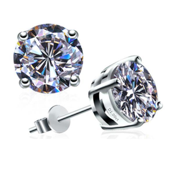 Positive 2Ct /piece Earrings Stud Female Moissanite Diamond Stud Earrings 18K White Gold Female Engagemnt Jewelry for Women