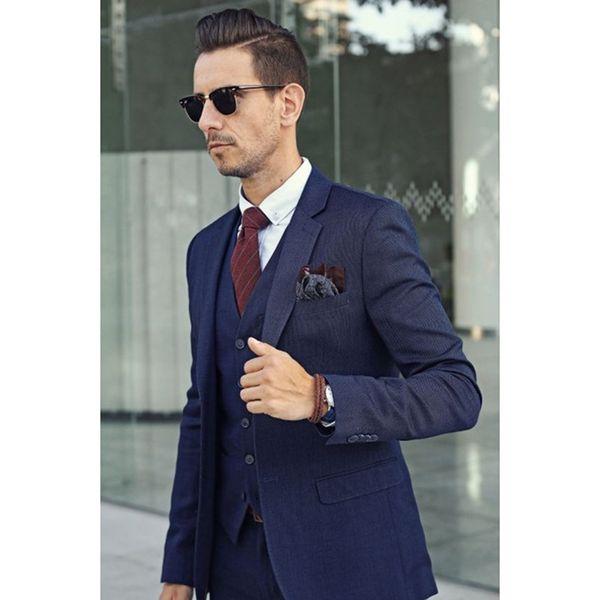 Acheter Veste + Pantalon + Gilet + Cravate 2017 Bleu Marine Style Italien Tuxedo 3 Pièces Hommes Costumes De Haute Qualité Encoche Revers Business