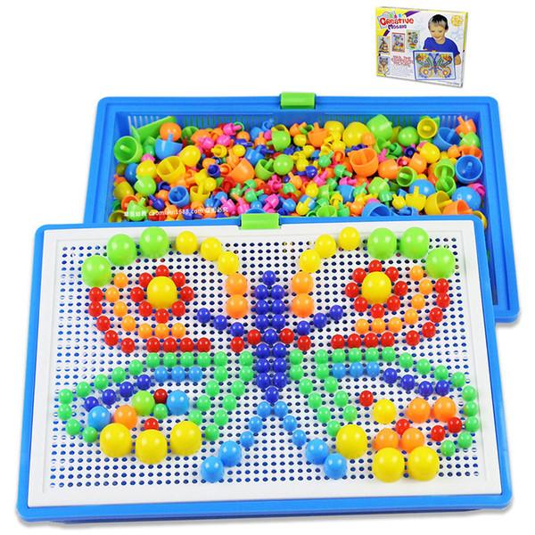 296 grani giocattoli per bambini creativo colorato mosaico di funghi chiodo ding bambini apprendimento giocattolo perline inserto puzzle giocattoli educativi per i bambini b