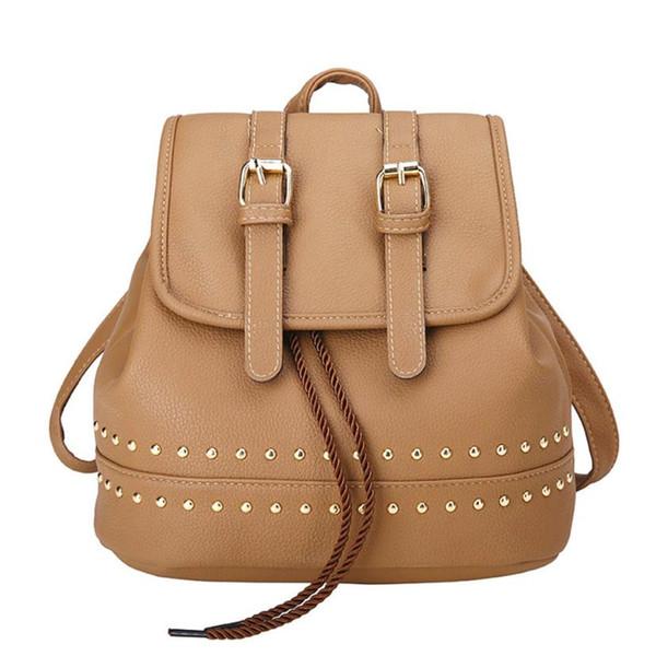 Fashion Backpack Women School Bags For Teenagers Vintage Backpack Rivet Decoration Travel Rucksack School bookbag