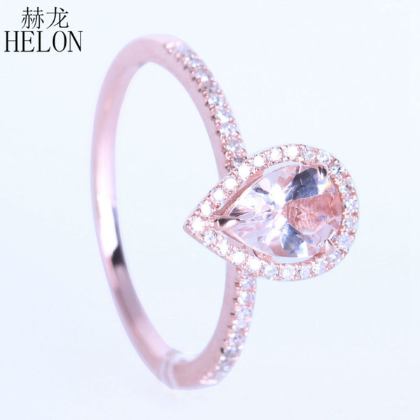 2019 HELON 7x5mm Pear Prong Sharp 0 514ct Pink Morganite 0 2ct Diamond  Solid 14K Rose Gold Engagement Wedding Fine Jewelry Ring From Bestqueen,  $381 4
