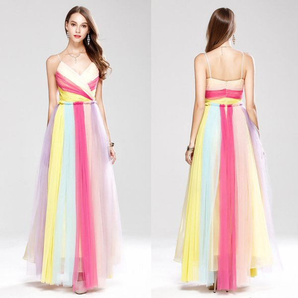 check out free delivery low price Colorful Evening Dresses Long Turkey Rainbow Formal Party Dress Spaghetti  Straps Tulle Sleeveless Gradient Prom Gowns Robe De Bal Longue Lace Evening  ...