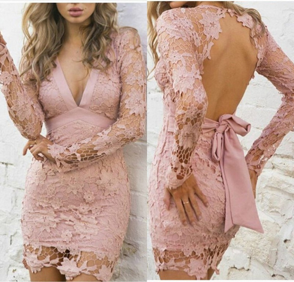 Fashion Pink Lace Long Sleeve Cocktail Party Dresses V Neck Mermaid Evening Gowns Mini Illusion Formal Special Occasion Homecoming Dresses