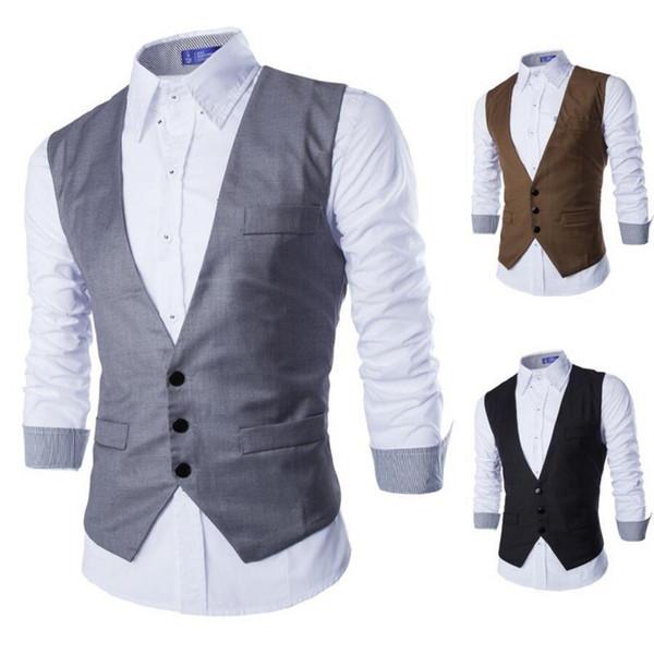 Men Suits Vests Gilet New Arrival Men Vest Slim Fit Fashion Male Waistcoat Black Gray Colors Formal Business Male Clothing