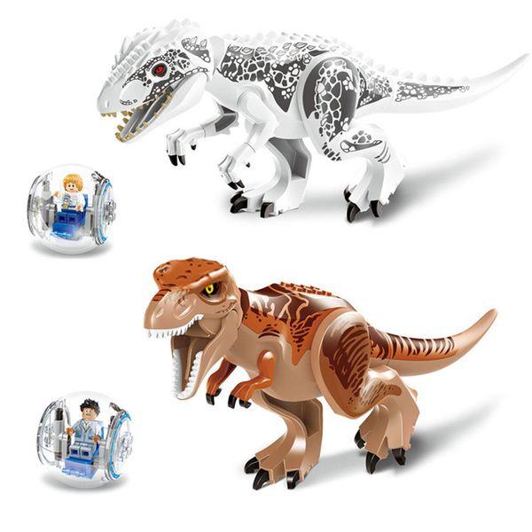 2 PCS / ensemble Jurassic Dinosaure Blocs Tyrannosaurs Rex Modèle Blocs de Construction Éclairer Figure Jouets Pour Enfants Compatible Legoe