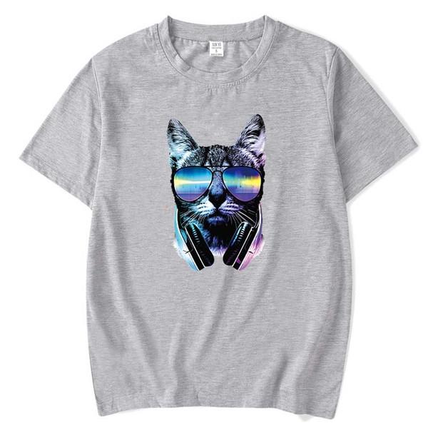 Homens Tops moda hiphop manga curta gato da música impresso camisa dos homens T engraçado fresco verão crewneck mens T camisa 2018