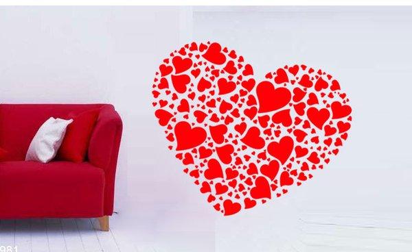 Romântico diy arte amor coração adesivo de parede mural quarto sala de estar decoração de casamento à prova d 'água removível vinil decalque muraux papel de parede