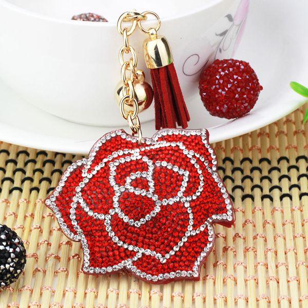 Portachiavi di alta qualità di cristallo di alta qualità della catena chiave di cristallo del rhinestone sveglio creativo 7 colori del fiore della catena chiave delle donne fortunate 6C2289