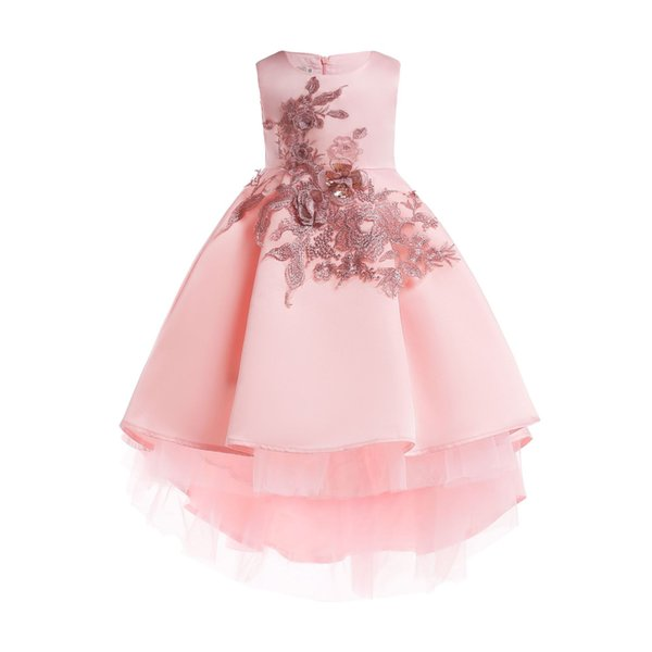Boutique Girls party dresses kids sequins stereo flower embroidery princess dress children ribbon Bows belt dovetail dress pink gray F0371