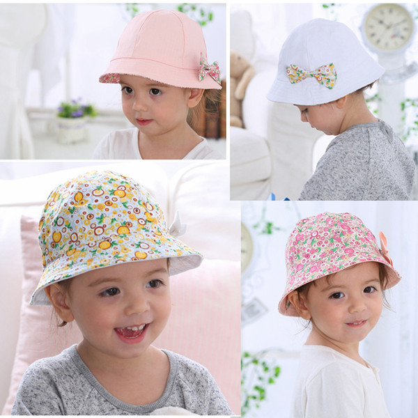 Baby Bowknot Floral Summer Bucket Hat Flower Fisherman Cotton Kids Girls Cap Sun Double Sided Baby Best Gifts 60pcs AAA643
