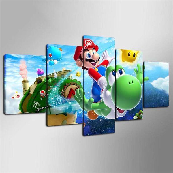 Großhandel 5 Stück Leinwand Gedruckt Dekoration Wandkunst Super Mario  Galaxy Malerei Für Kinder Kinderzimmer Dekoration Cartoon Bild Von Kenedy,  ...