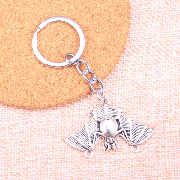 Fashion 28mm Key Ring Metal Key Chain Keychain Jewelry Antique Silver Plated bat vampire dracula connector 29*47mm Pendant