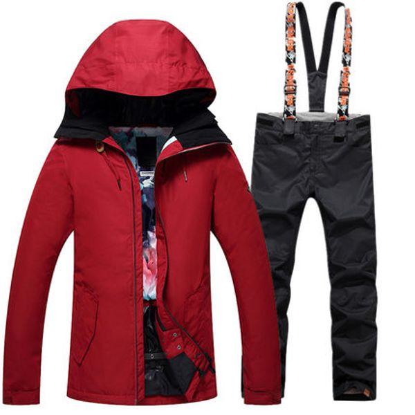 GSOU SNOW 2017 New Girls Ski Suit Female Suits Winter Long Pure Color Warm Windproof Waterproof Ski Jacket Pants Size XS-L