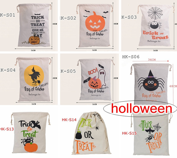 top popular hot sale 9style Halloween Large Canvas bags Holloween cotton Drawstring Bag With Pumpkin, devil, spider, Hallowmas Gifts Sack Bags 36*48cm 2021