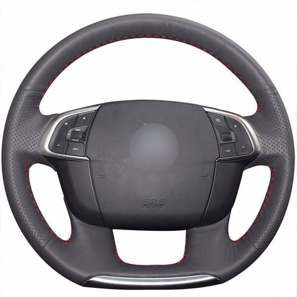 Top Leather Steering Wheel Hand-stitch on Wrap Cover For Citroen C4 C4L 2011-15