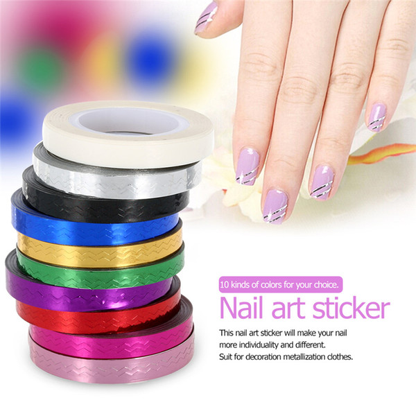 10 Rolls 10 Colors Nail Striping Tape Decal For DIY 3D Variety Nail Art Tips Decorations Line Foil Sticker