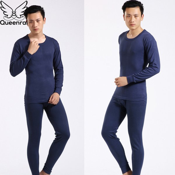 Queenral Men Long Johns Thermal Underwear Male Long Johns Men For Winter Cotton Warm Pajama Set Winter Man Round Neck Sexy