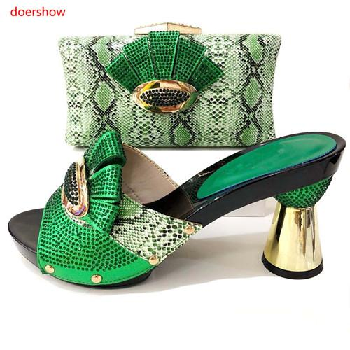 Italian Style Woman Shoe And Evening Bag Set Fashion Rhinestone High Heels Woman Shoe And Bag Set For Party !T1-5