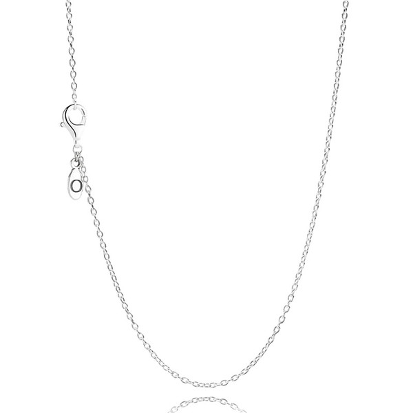 Wholesale Womens 60 CM S925 Sterling Silver Chain Original Necklace Fit Pandora Jewelry Charms Pendants Jewelry for Women