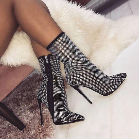 Unique Designer Fashion High Heels 11cm Female t show Boots Rhinestone Patent leather High heel Womens T Show Party Booties big Size 35-42