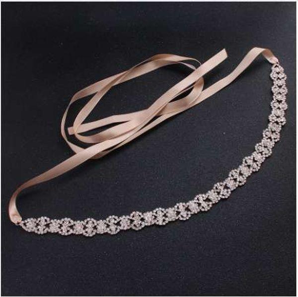 SLBRIDAL Rose Gold Wired Clear Crystals Rhinestones Wedding Headband Bridal Stuio Hair Accessories Bridesmaids Belt Jewelry