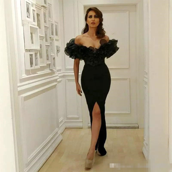 Stylish Ruffled Off-Shoulder Prom Dresses Sexy Front Split Black Mermaid Evening Dresses Cheap Satin Floor Length Celebrity Party Gowns