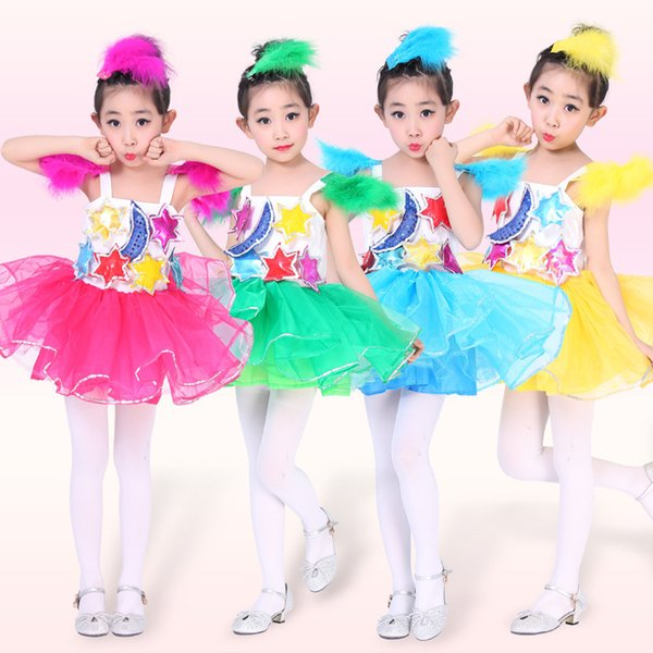 a52032db0 2017 New Children Star Moon Modern Dance Costumes Kids Child Sequin  Competition Jazz Stage Performance Clothing