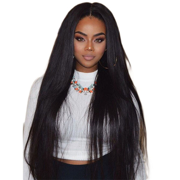 Lace Front Human Hair Wig Straight Burmese Virgin Hair 180% Density Natural Hairline With Baby Hair Full Lace Wig Bleached Knots Glueless