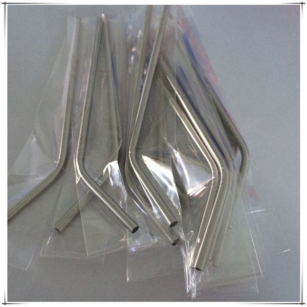 """2000pcs/lot Fast Shipping 6mm Straight & bend Stainless Steel Straw drinking straw 8"""" Length pipe lin2518"""