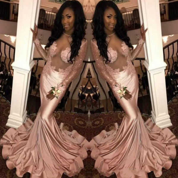 Fashion Pink Illusion Mermaid Prom Dresses Applique Black Girl African Formal Long Sleeve Party Sexy Evening Gowns Guest Wear Robe De Soiree