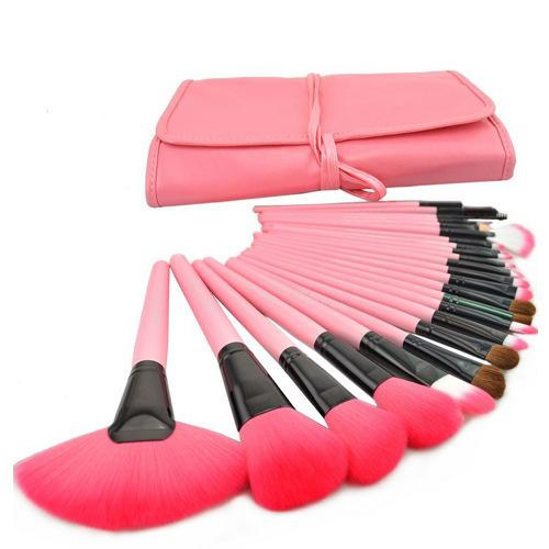 Professional 24pcs pink Cosmetic Makeup Brushes Set Blusher Eyeshadow Powder Foundation Eyebrow Lip Make up Brush kit with bag