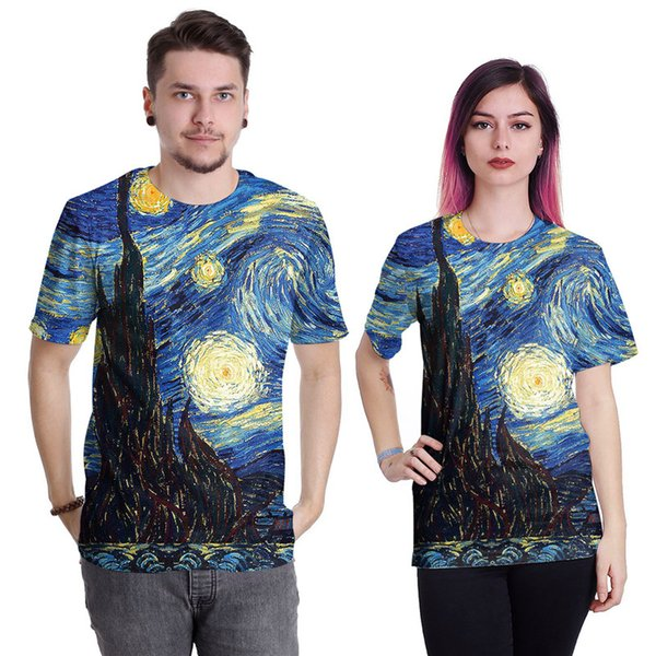 Wholesale Free Shipping Harajuku Style Men Women Galaxy Starry Night Leopard Lip Print 3d Sublimation T Shirt Casual Tee Tops