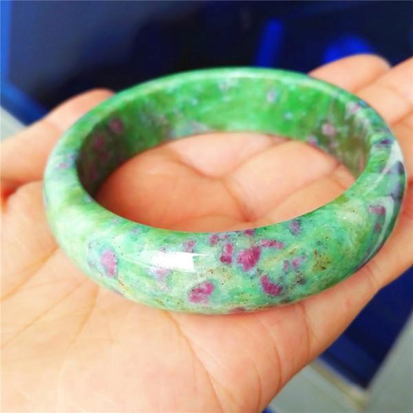 Prezioso Verde Naturale Rubino Zoisite Gemstone Donna Signora Rotonda Cristallo Moda Bracciali Bangle Diametro Interno 53mm