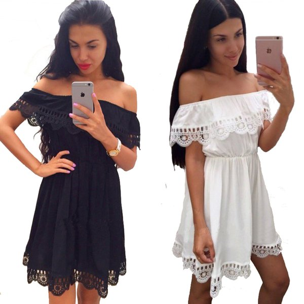 f7dc34f3 Fashion Women Elegant Vintage Sweet Lace White Dress Stylish Sexy Slash  Neck Casual Slim Beach Summer