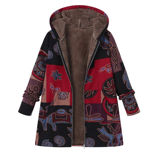 Vente design élégant choisir le plus récent 2019 2018 Winter Coat Women Parka Vintage Floral Print Hooded Warm Oversize  Parka Femme Jacket Manteau Femme Hiver From Hoto, $38.48 | DHgate.Com