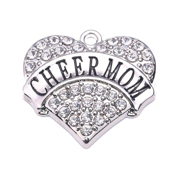 top popular Multi Color CHEER MOM New Love Heart Letter Crystal Charm Pendant For DIY Jewelry Making Accessories 2021