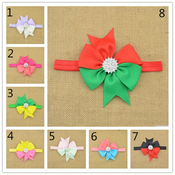 16pcs hair band Shades Of Grey Children's bow hair ribbon headband aureate bowknot Bud silk HD061