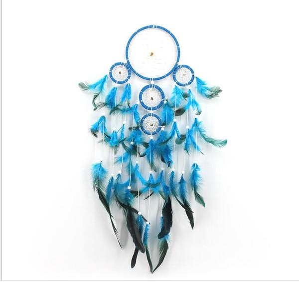 blau mit weißen Perlen