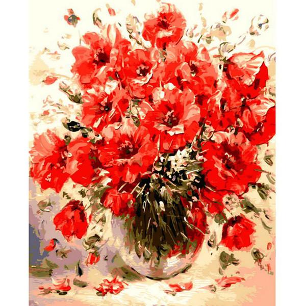 Fai-da-te con i numeri Kit su tela con o senza cornice in legno per adulti Principianti Fiori rossi con pittura a vaso per decorazioni