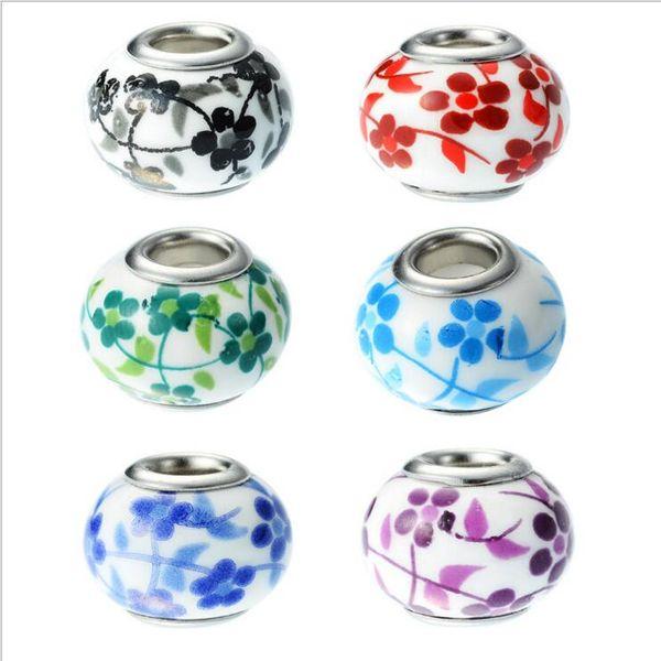 100 teile / los gemischt Mode Blume Porzellan Großes Loch Perlen für Schmuck Machen DIY Perlen für Armband Großhandel in Groß Niedrigen Preis
