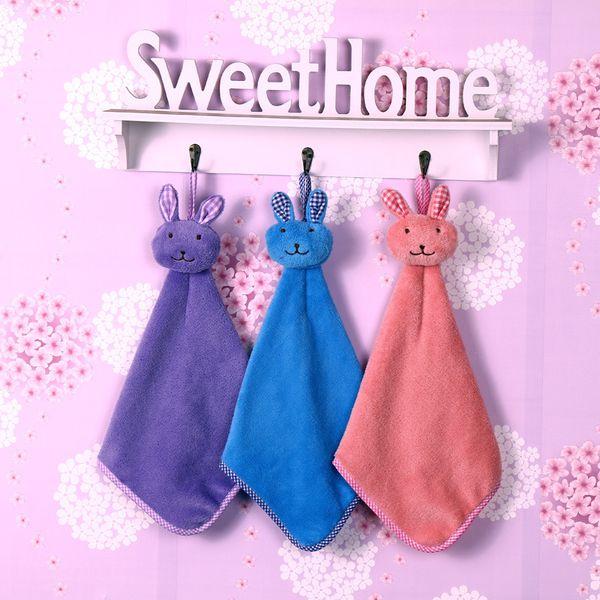 Lovely Baby Hand Towel Cartoon Animal Rabbit Plush Kitchen Soft Hanging Bath Wipe Towel Children's gifts 30pcs/lot