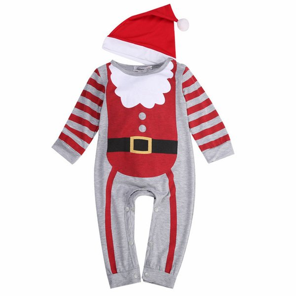 Baby Boys Girl Xmas Santa Claus Rompers 2018 Bebes Newborn Baby Kid Cute Christmas Jumpsuit+Hat/Headband Outfits Kids Clothes