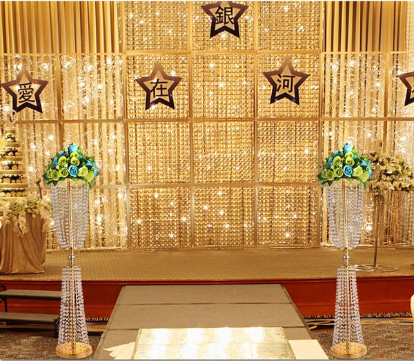 2018 Wedding Crystal Pillars metal stand tall cake holder Wedding Centerpiece Road Leads Flower vase display Stand