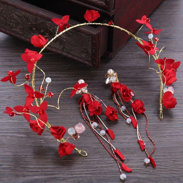Women Red Flower Headband Hair Jewelry with Long Drop Earrings Handmade Floral Headpiece Ornaments Wedding Party Jewellery Sets
